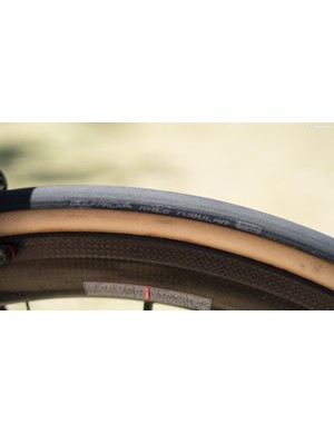 The Astana team uses Wolfpack Race Tubular tyres in a classic gum wall finish