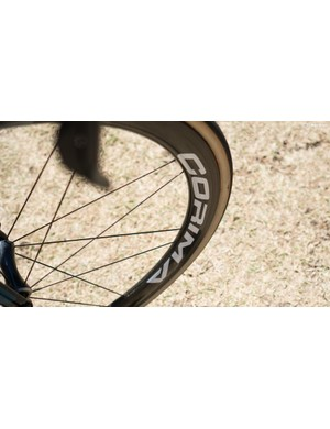 The Wolfpack tubulars are paired with Corima 47 WS+ carbon wheels