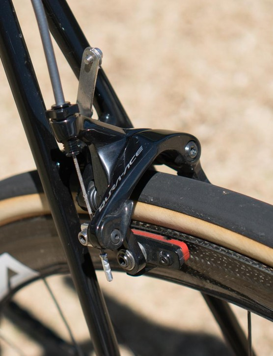 Shimano Dura-Ace R9100 single bolt brakes provide the stopping for Sanchez
