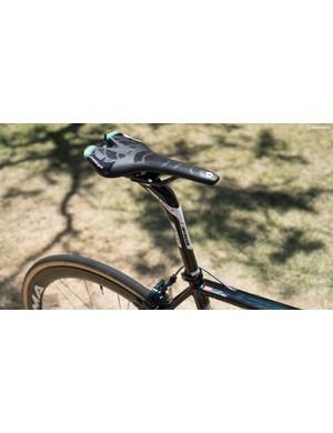 Sanchez opts for a setback seatpost alongside a team issue custom Prologo saddle