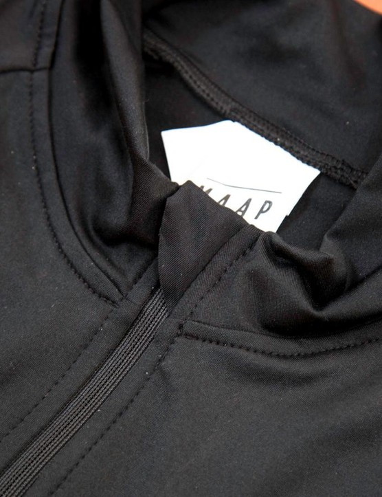 The full length zipper placket comes over the top of the zipper to prevent zipper rash