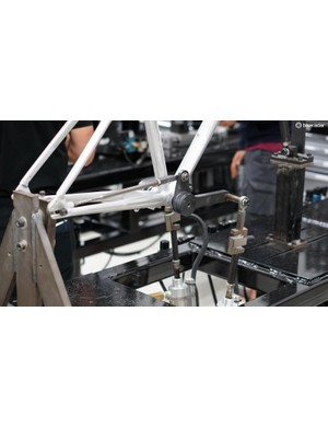 Trek also does extensive flex- and fatigue-testing in its lab. This pedal-testing with the rear dropouts held fixed cycles through a 370lb load per side
