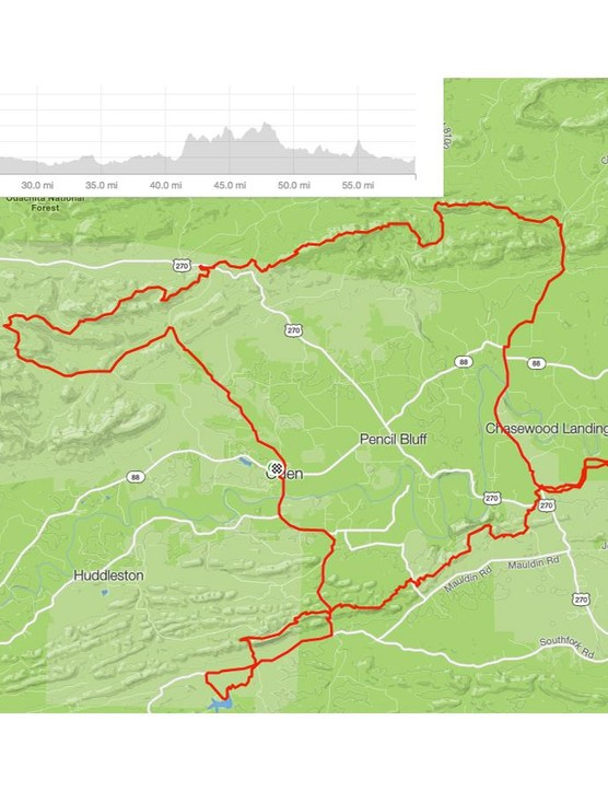 The Ouachita Challenge traverses 60 miles (with more than 6,000 feet of elevation gain) through the Ouachita Mountains of west-central Arkansas