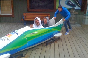 Josh Bryceland and Marc in the taboggan - Vancouver will host the 2010 Winter Olympics