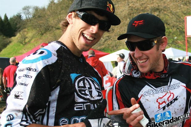 Marc celebrates with Gee Atherton
