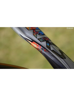 The graphics even extend to the section of the down tube typically hidden by the front wheel