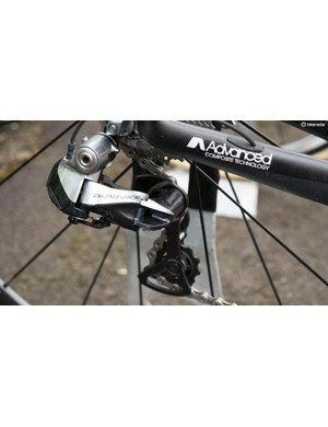 The bike is fitted with a Dura-Ace Di2 drivetrain, bar the chainrings