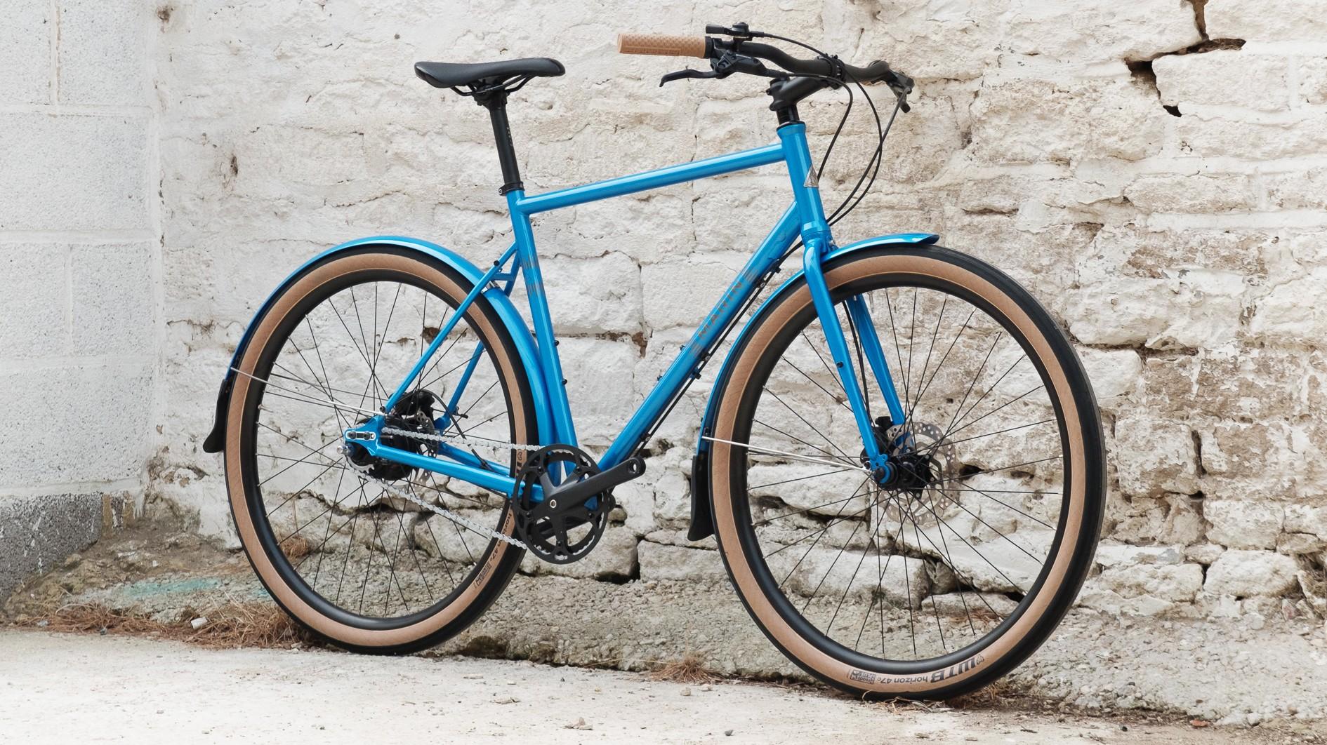 The bike is built around WTB's 47mm wide Horizon tyres