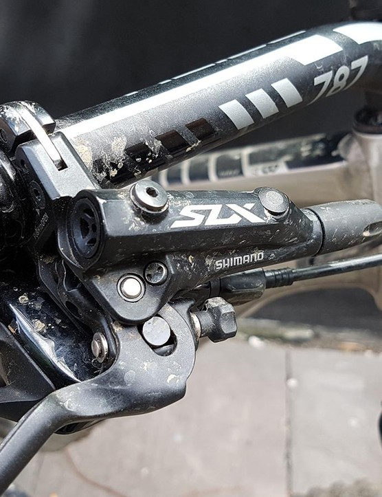 Shimano SLX brakes offer plenty of power, though we've had some issues with wandering brake points