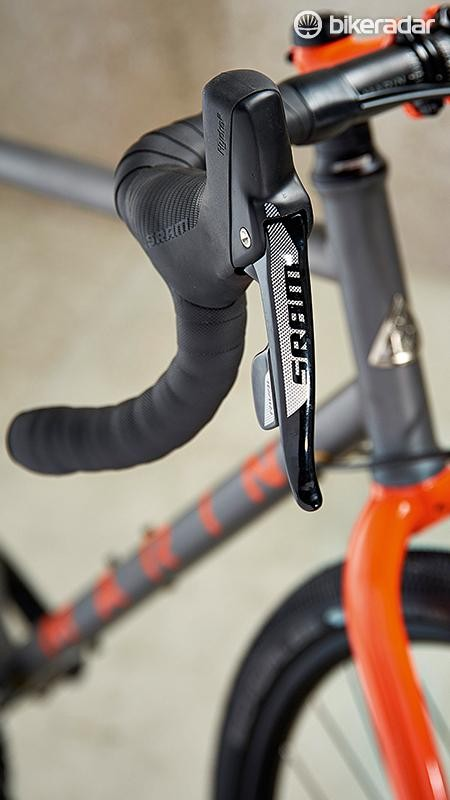SRAM's hydraulic lever hoods provide a useful handhold