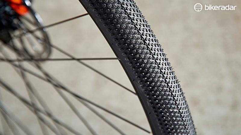 The distinctive tread pattern of Schwalbe's gravel-friendly G-One tyre