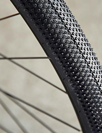 The distinctive tread pattern of Schwalbe's gravel-friendly G-One tyre