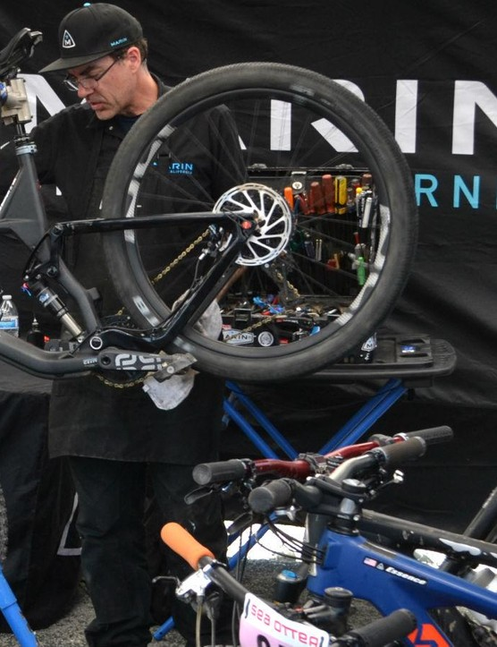 With a line of bikes waiting, Marin's wrenches stay focused on the task in front of them
