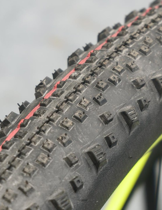 The Schwalbe Thunderburt tyres were swapped out for a Racing Ralph to suit the muddy conditions on the Sunday