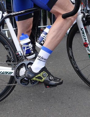The prototype footwear has a very low stack height, requiring Martin to lower his saddle several millimeters