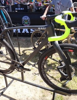 Masi also introduced its new CXR cyclocross line of bikes at Sea Otter. Masi product manager James Winchester took advantage of the new carbon frame's generous tire clearance to build up this monster gravel machine. Kenda Flintridge 40mm tires, a Lauf fork and a 1x11 XTR Di2 drivetrain complete the radical build
