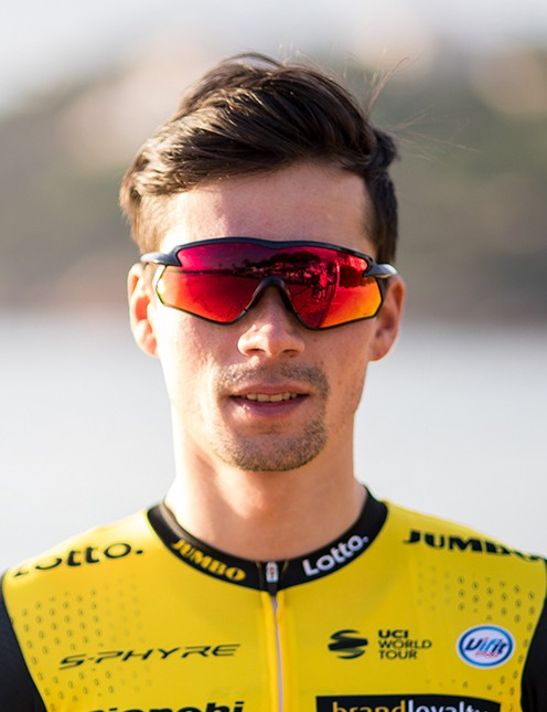 Primoz Roglic shows off the Shimano S-Phyre X sunglasses in the 2018 team kit launch