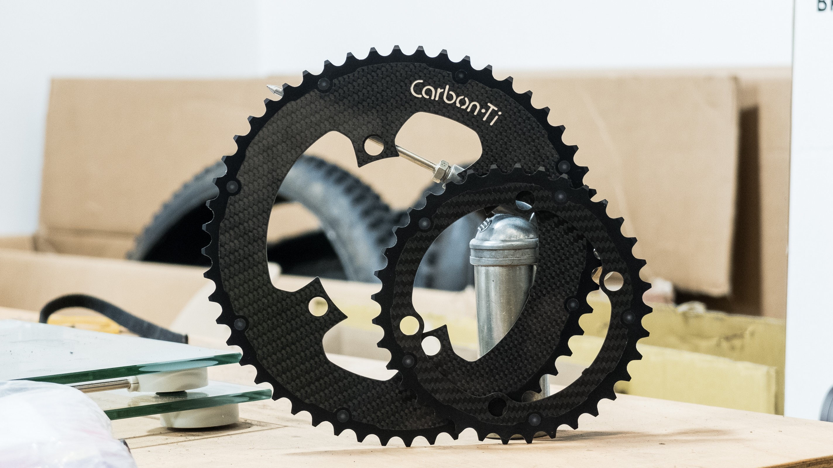Carbon-Ti's chainrings are mad looking things