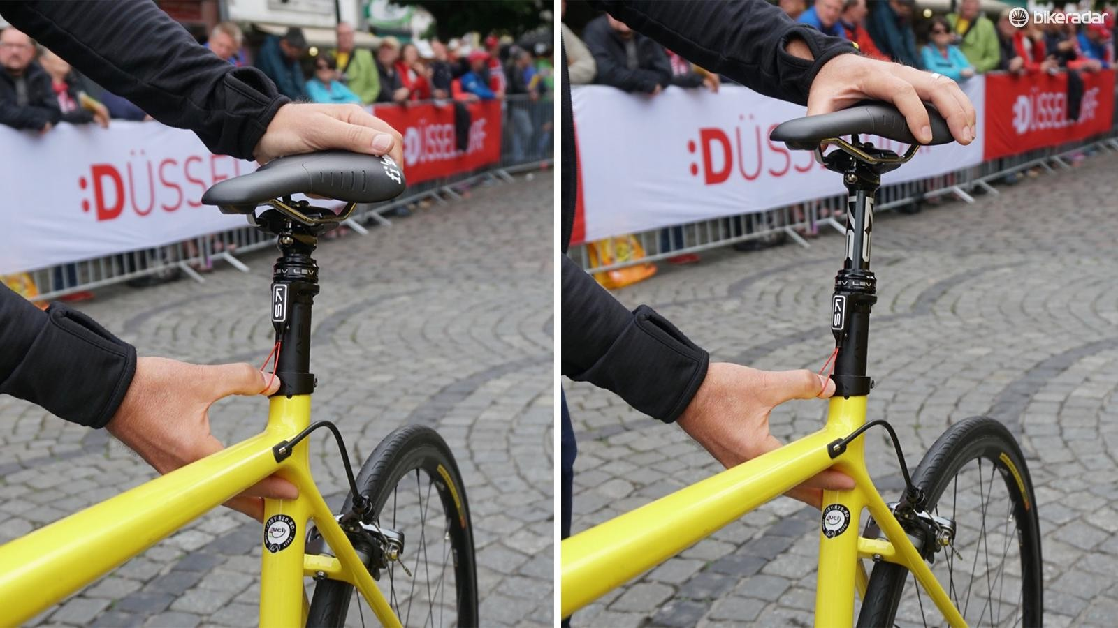Mavic neutral support bikes have a new, custom dropper post to adjust to rider saddle height on the fly