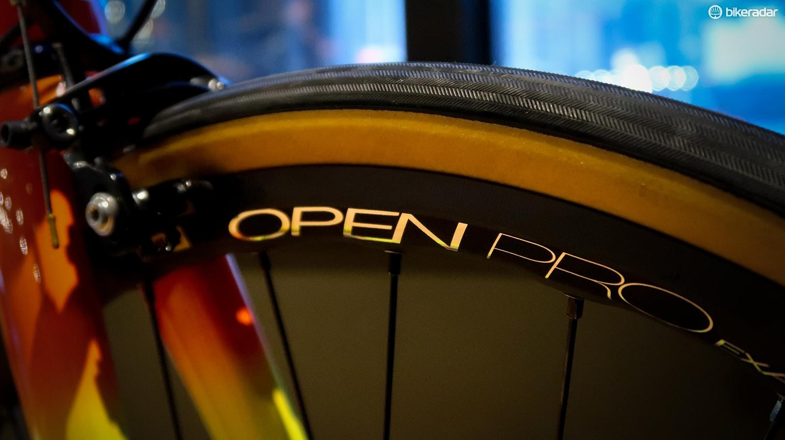 Rim brake version of the Open Pro comes in a version with a machined braking track as well as the Exalith version shown here