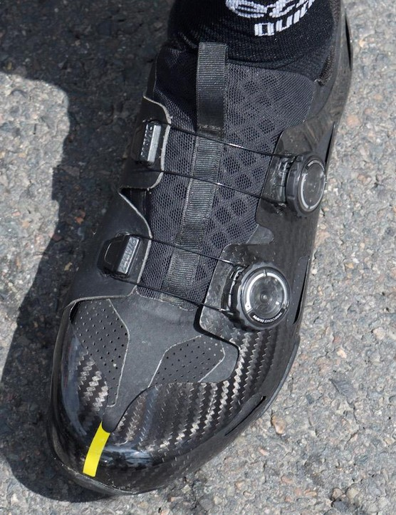 The inner side of the shoe is made with a synthetic material to provie a better fit and prevent damage from the crank arms