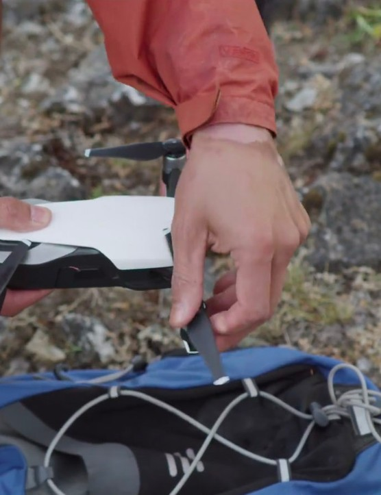 The Mavic Air from DJI has foldable arms to allow it to pack to a smaller size for easier transportation