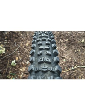 The Aggressor's tread pattern is designed for loose to loose-over-hardpacked trails