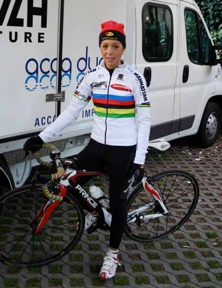 La Campionessa herself poses with her Pinarello Prince