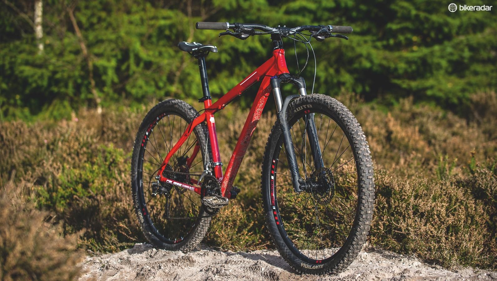 The Rake's wide bar, grippy front tyre and long/low geometry make it a proper ripper