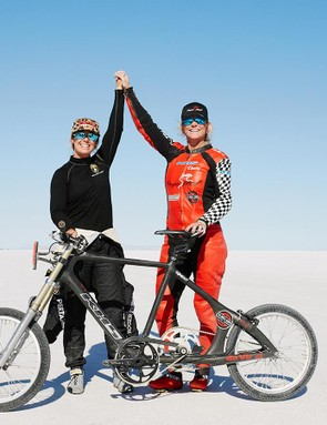 Mueller-Koronek and Holbrook celebrate with the record breaking bicycle