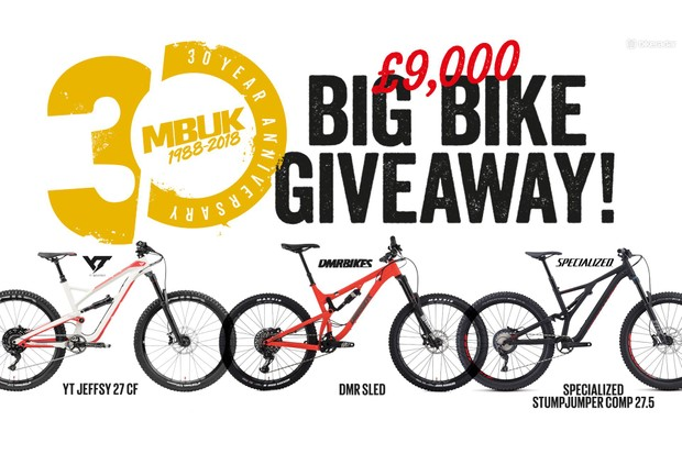 Three bikes are up for grabs in the £9,000 giveaway