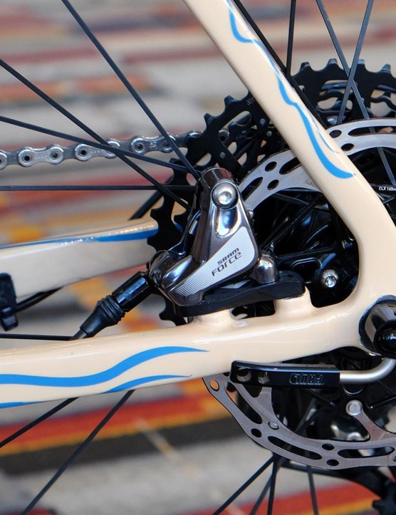 Direct-mount brakes on the back of this gravel bike