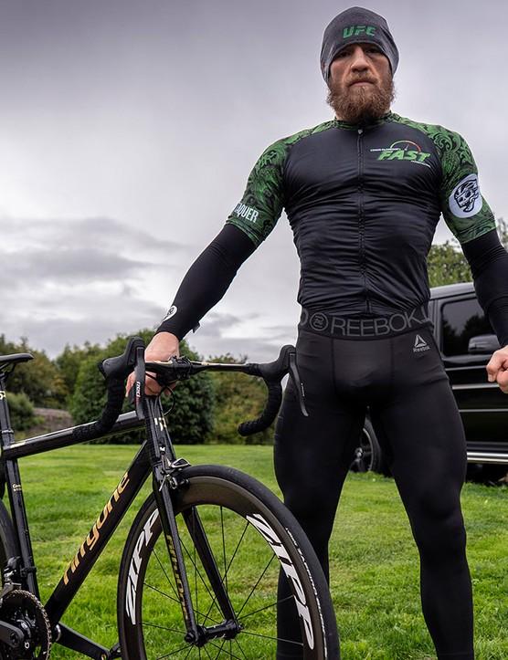 Conor McGregor in his custom Attaquer jersey