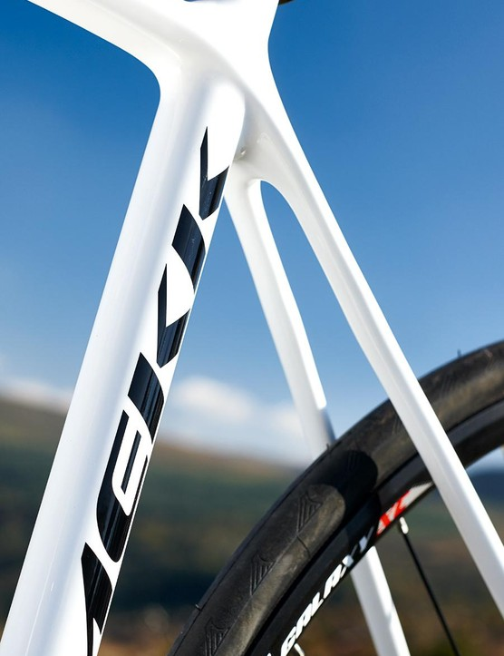 Its chunky chainstays are designed for power transfer, but these slimline bridgeless seatstays are created for comfort