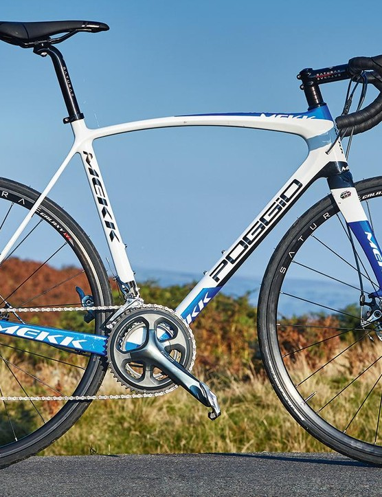 The Mekk has smooth and clean lines, but we'd have expected wider tyres and a taller head tube on an endurance bike