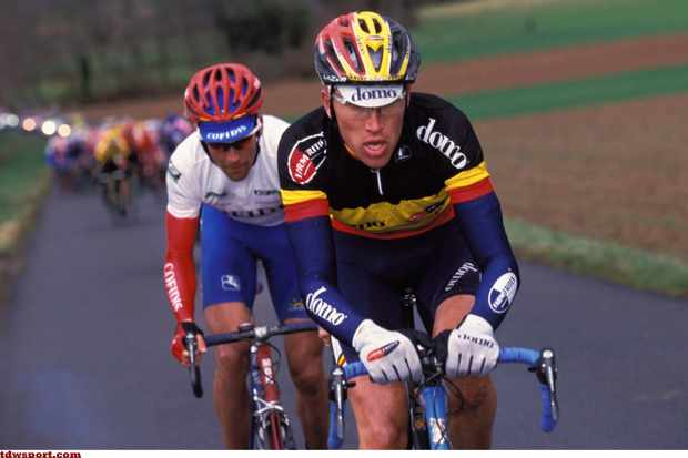 Axel Merckx sporting the Belgian national jersey in 2001.