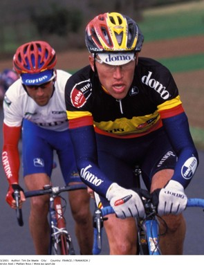Axel Merckx sporting the Belgian national jersey in 2001.