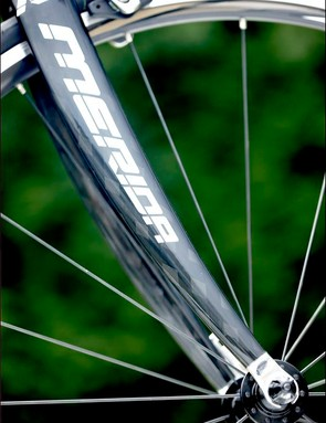 Shimano R500s that are highlighted by attractive black spokes and red anodised nipples. Beating Expectations for the price