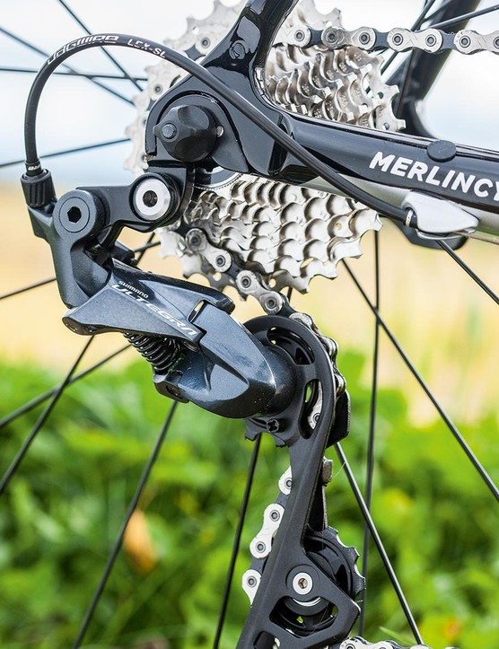 Shimano's Ultegra shifters and mechs provide crisp and swift shifts between gears