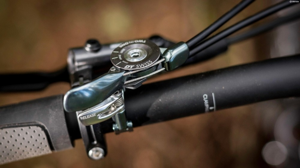 The on-bar control for the fork and shock is a handy XC feature