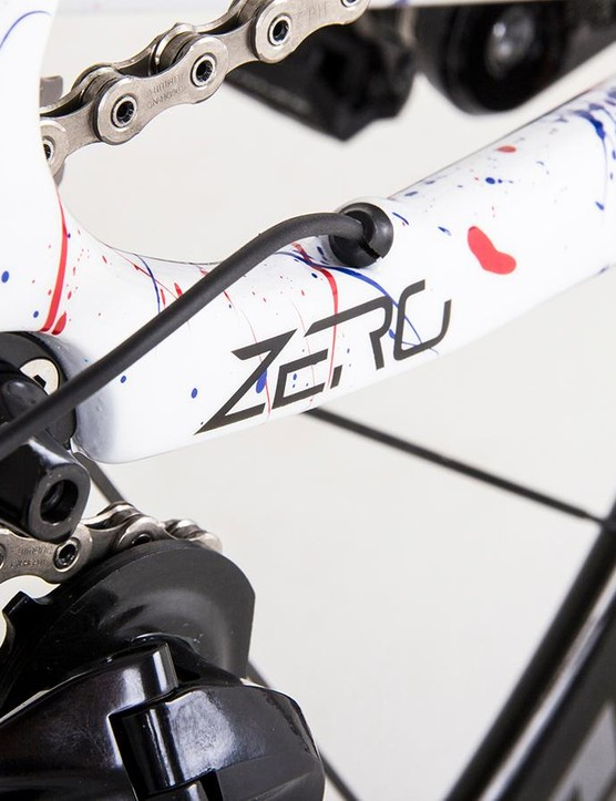 The frameset's model name has subtle decals on the chainstay