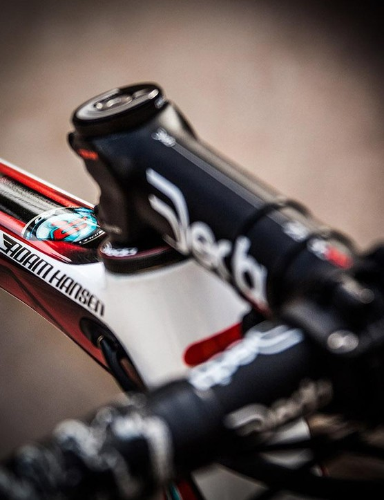 Hansen's name decorates the head of the top tube, while finishing kit is provided by Deda