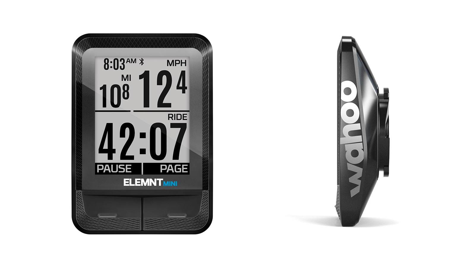 The Wahoo Elemnt Mini shows three data lines plus the time, and weighs a claimed 31.2g / 1.1oz