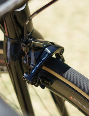 The SuperSix EVO still uses traditional centre-mount brakes