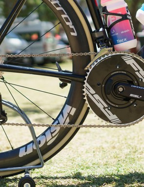 The team runs Cannondale's own SiSL cranks fitted with a Powerbox power meter and FSA TT chainrings