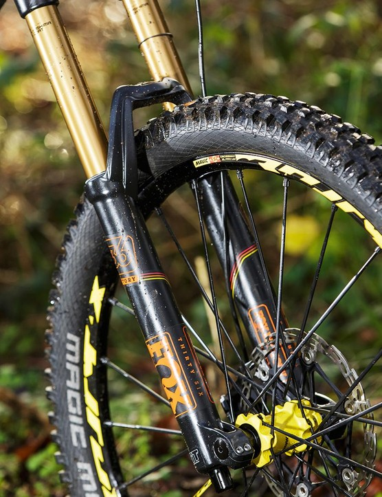 The 180mm Fox 36 RC2 fork offers a superbly sensitive beginning stroke
