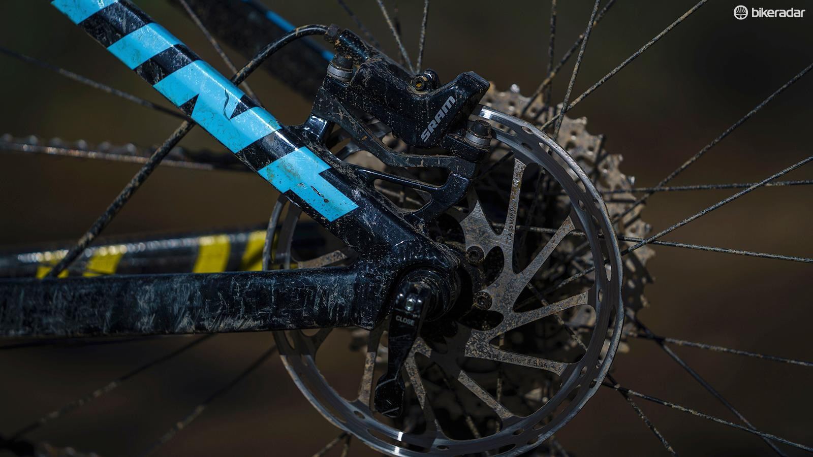 Level T brakes work fine on mellower trails but struggle when the speeds increase and the downhills lengthen