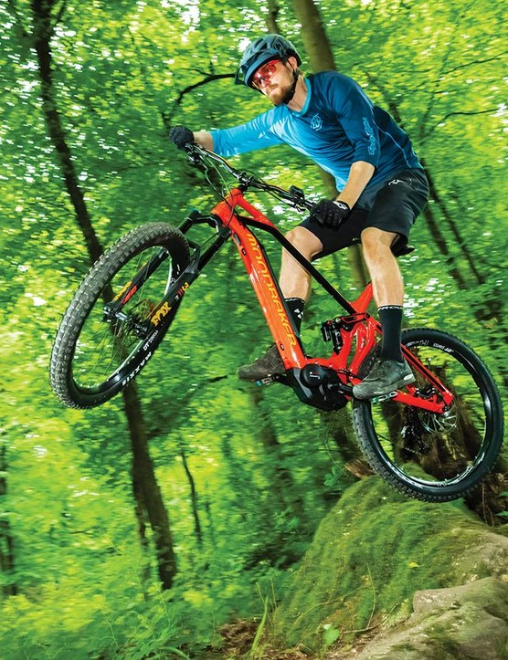 Mondraker's Forward Geometry pairs a long front centre with a short stem to provide a stable, confidence-enhancing ride