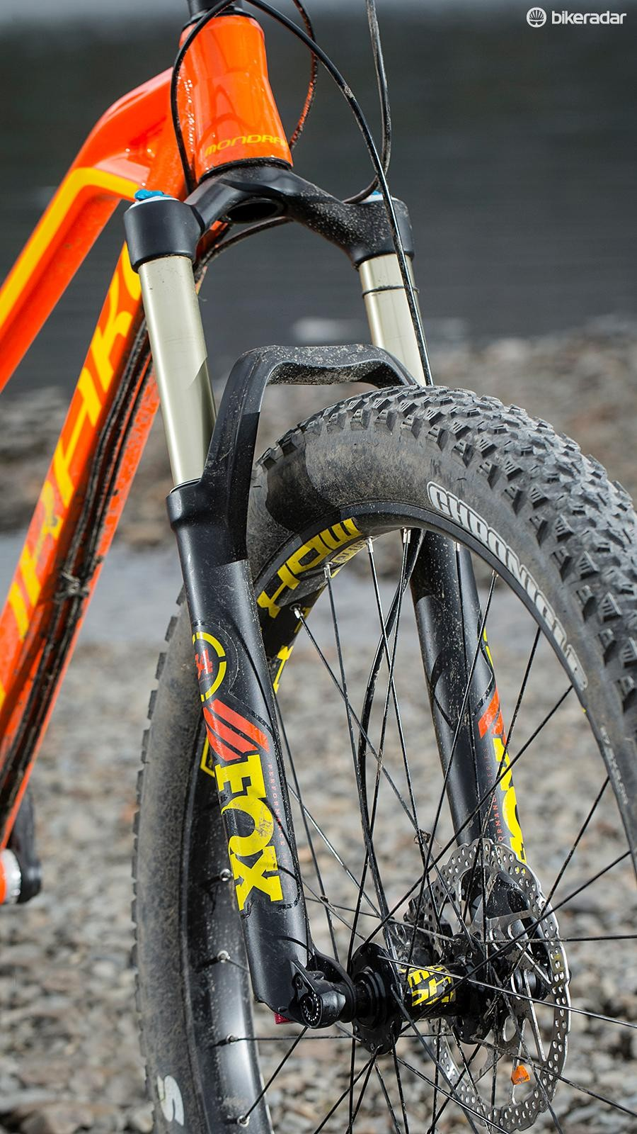Push hard and you'll feel some twang in the Fox 34 fork