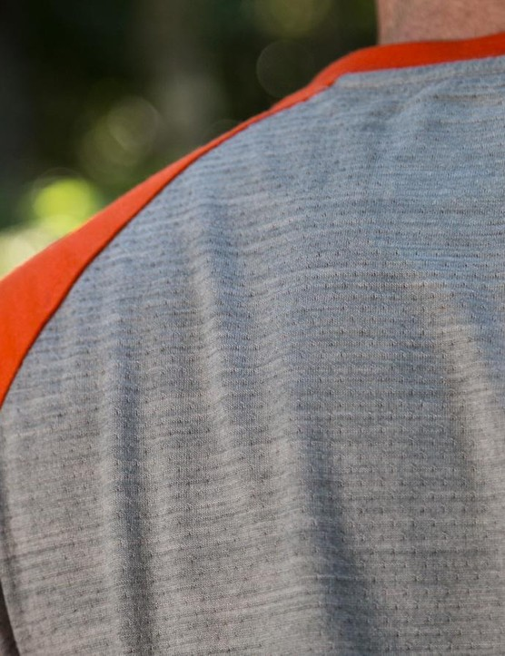 The rear panel of the jersey is a unique merino mesh